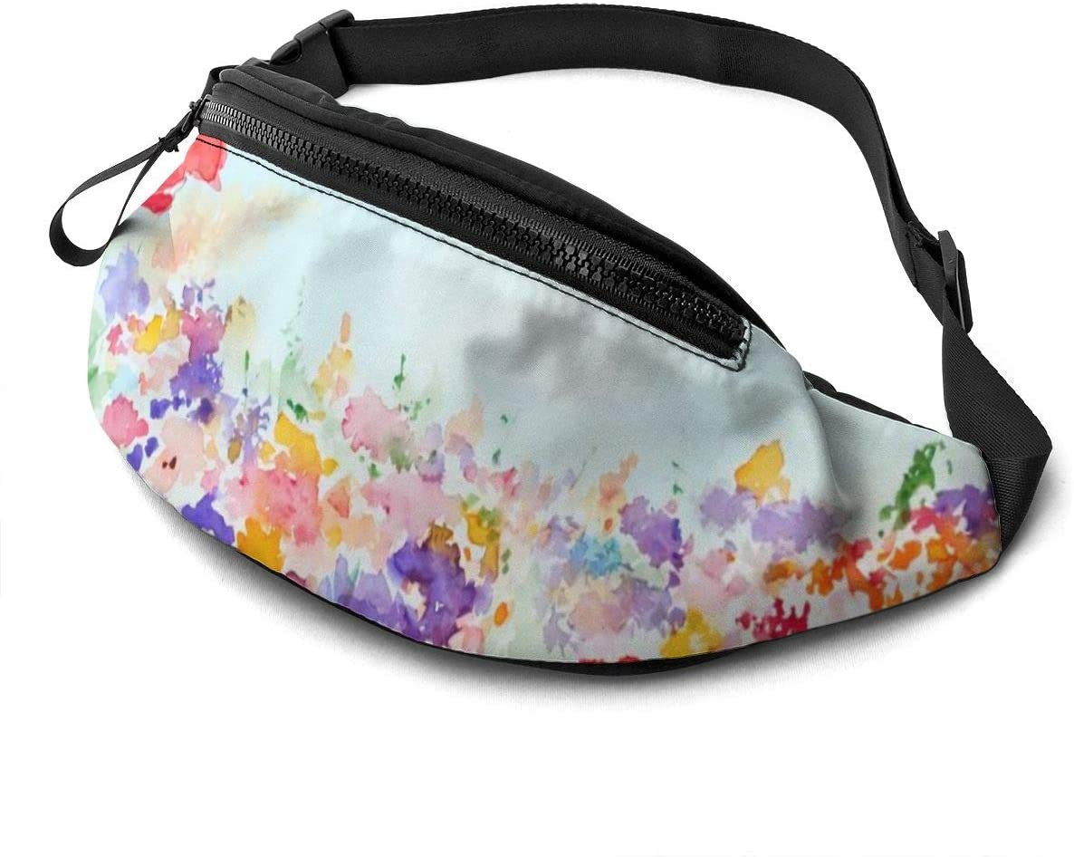 Garden with Grass and Blooms Fanny Pack for Men Women Waist Pack Bag with Headphone Jack and Zipper Pockets Adjustable Straps