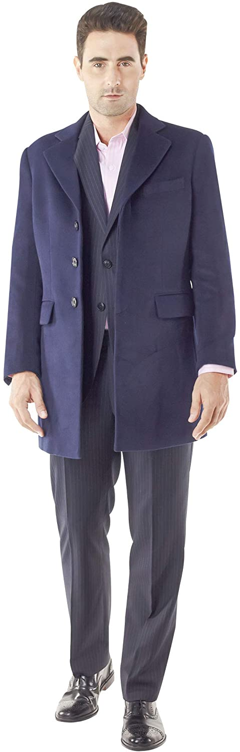 Mens Overcoats Style no.13973 Dark Blue Heavyweight Wool and Cashmere for Winter Season