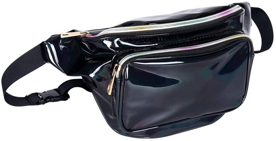 Geestock Holographic Fanny Pack for Women/Men, PVC Waterproof Shiny Waist Bag, Laser Waist Bum Bag with Adjustable Belt for Travel, Party, Festival Rave, Running, Hiking (Black)