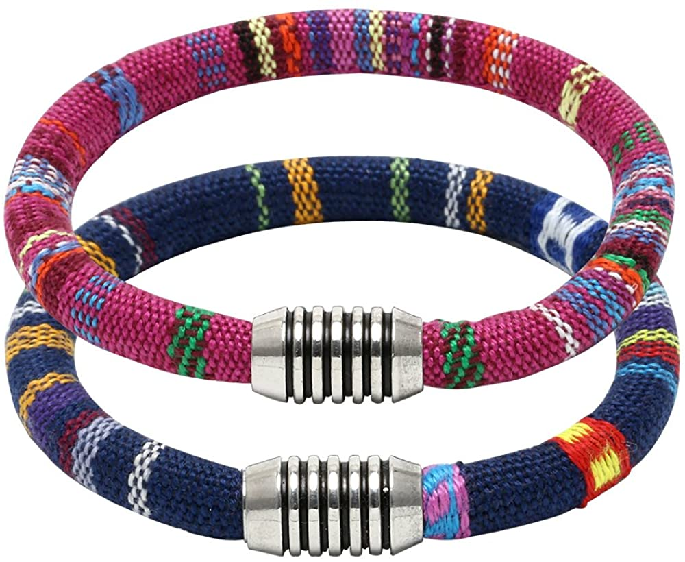 PearlyPearls 2PCS Double Strands Fabric Cord Cuff Bracelet Bangle Unisex Bohemian Jewelry