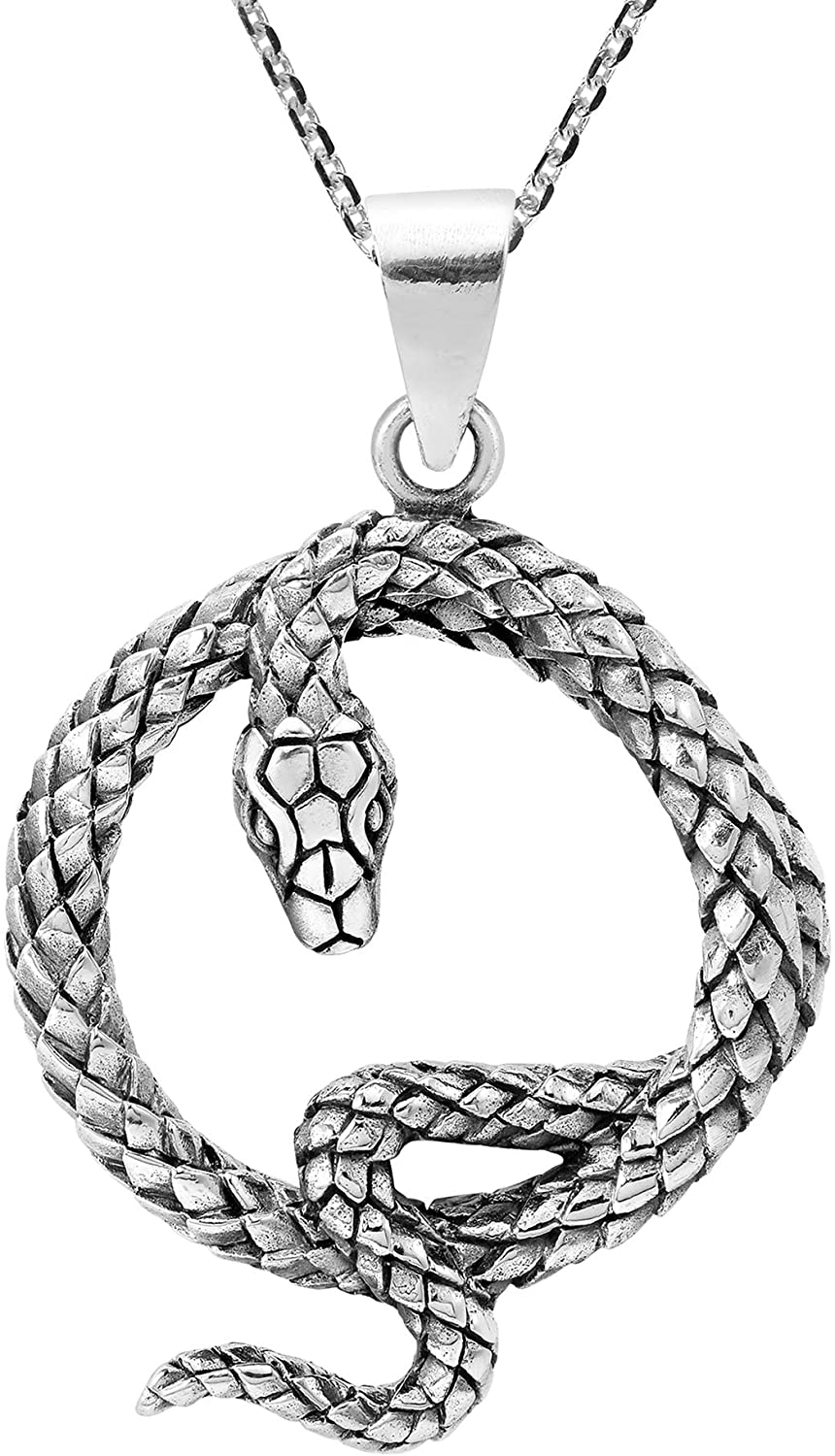 AeraVida Edgy Serpent Coiled Snake .925 Sterling Silver Pendant Necklace