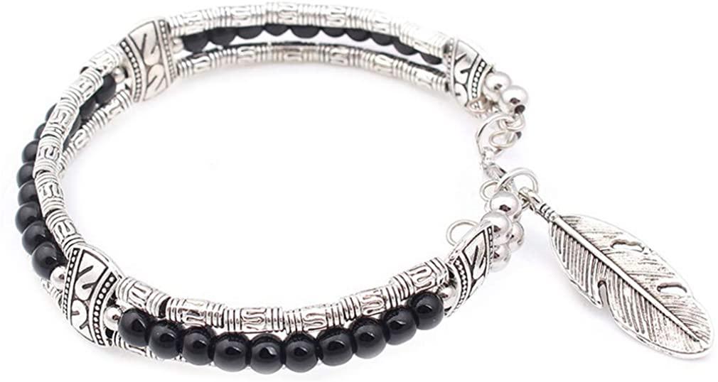 YAZILIND Ethnic Style Tibetan Silver Turquoise Beads Bracelet Bangle Feather Pendant Frienship Bracelets Christmas Jewelry Gift