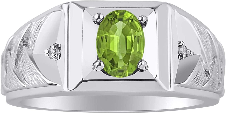 RYLOS Simply Elegant Beautiful Peridot & Diamond Ring - August Birthstone