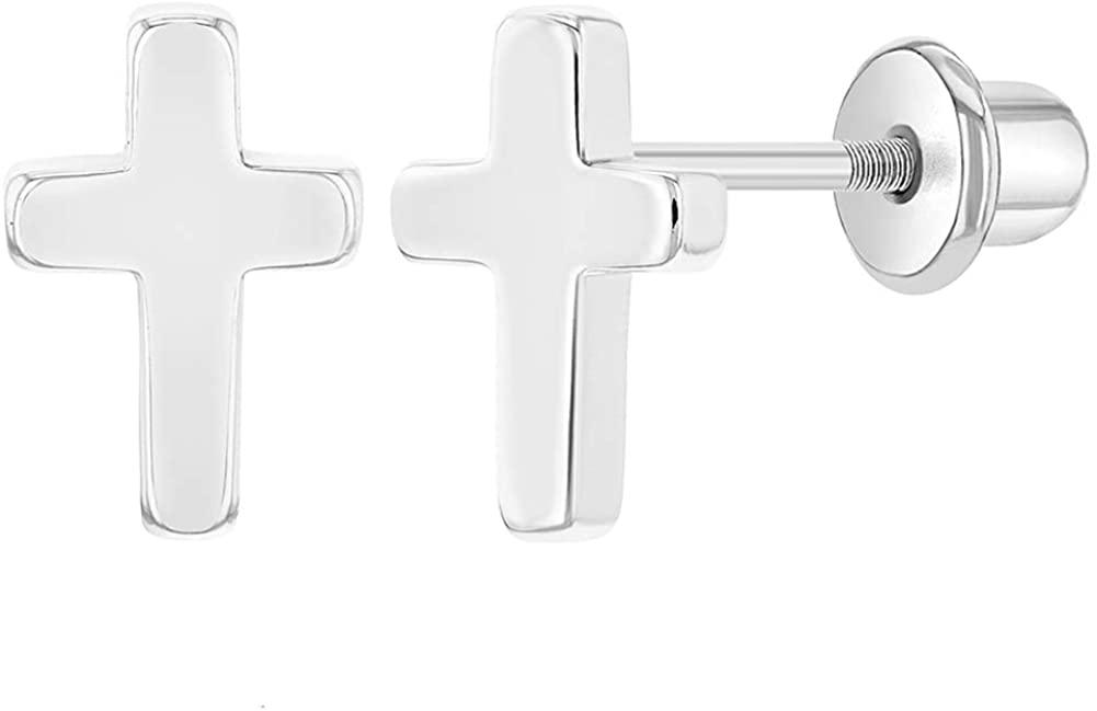 Rhodium Plated Plain Little Cross Safety Screw Back Earrings Baby Children Kids