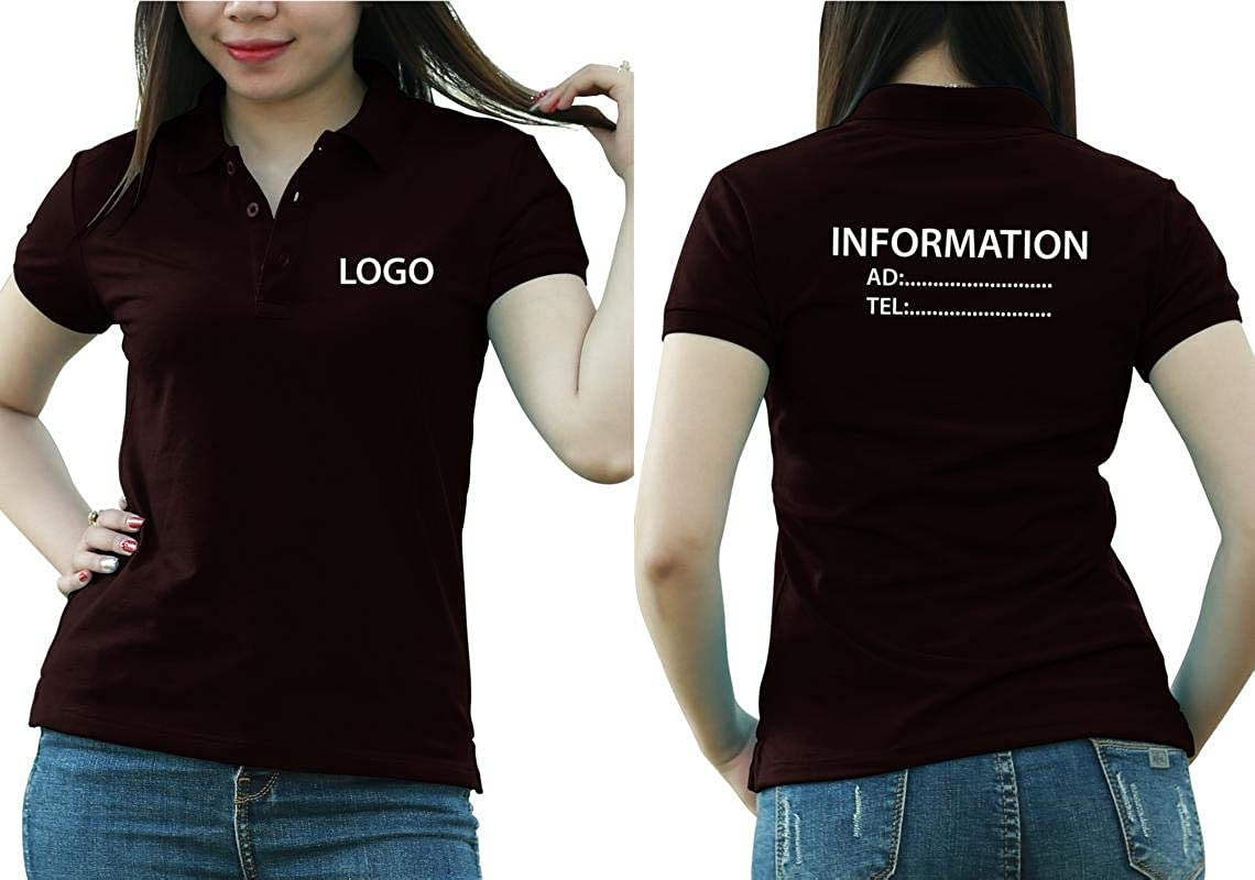 Add Custom Personalize Your Logo Text. Embroider On Polo & T-Shirt with Multi Sides – Sizes - Colors. Pack of 10 Brown