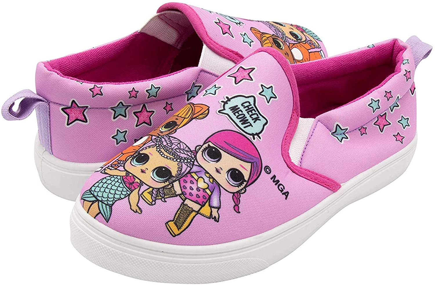 LOL Surprise! Girls Slip On Shoes - Pink Canvas Sneakers for Kids