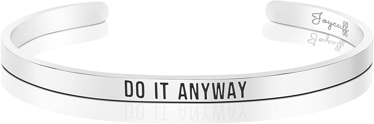Joycuff Bangle Bracelets for Sister Inspirational MOH Gifts for Her Mantra Engraved Cuffs Do it Anyway