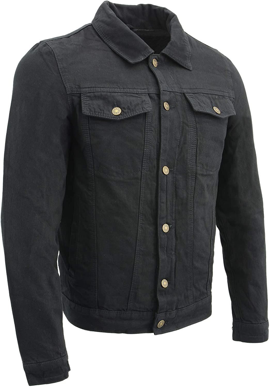 M Boss Motorcycle Apparel BOS11015 Mens Black Classic Jean Pocket Denim Jacket with Inside Gun Pockets - X-Large