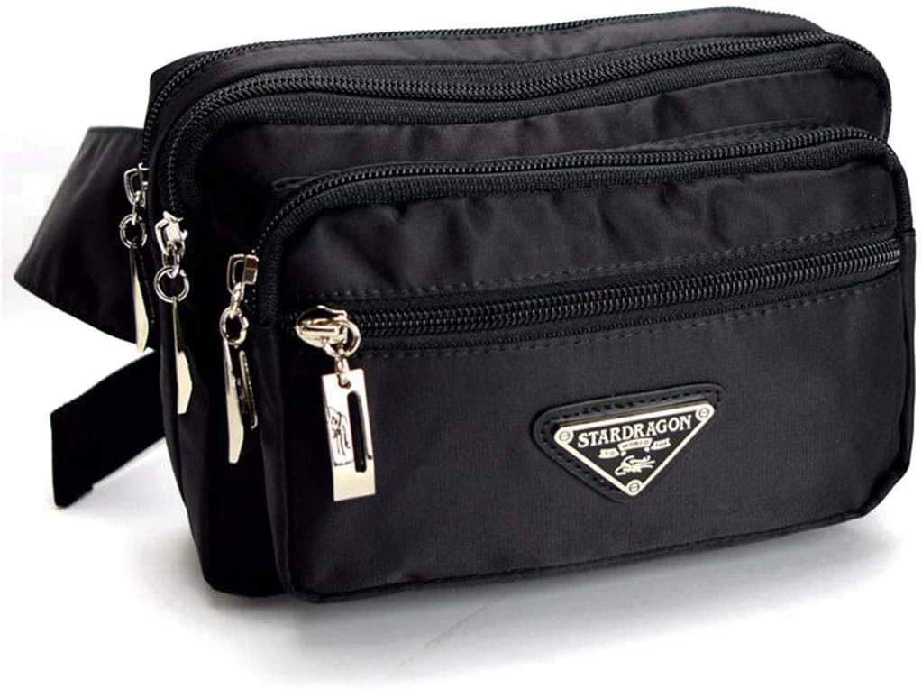 WENNEW Fanny Pack Black Waist Bag Travel Hiking Hip Bum Purse Black Canvas Travel Neck Pouch Fashion (Color : Black)