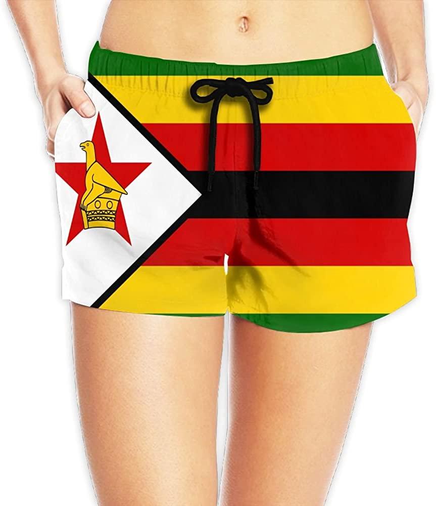Yongchuang Feng Flag Of Zimbabwe Women's Funny Hot Pants Summer Casual Beach Shorts Quick Dry Swim Trunks