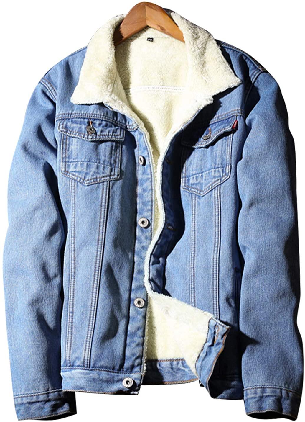 Omoone Men's Sherpa Fleece Lined Denim Jean Trucker Jackets