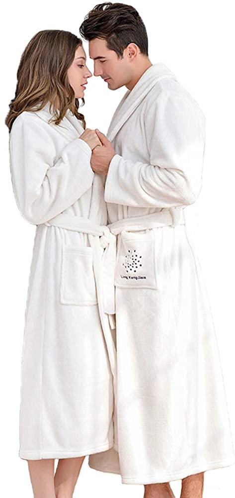 Michealboy Men's & Women's Shawl Collar Flannel Bathrobes Plush Long Sleepware