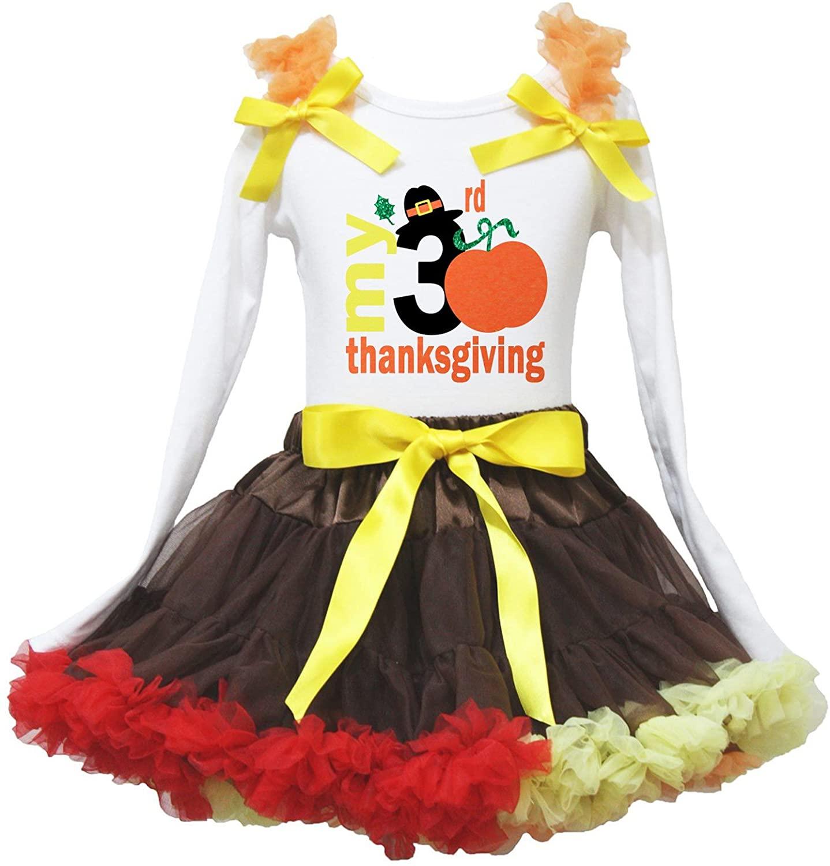 Petitebella My Thanksgiving White L/S Shirt Brown Rainbow Ribbon Skirt Set 1-8y