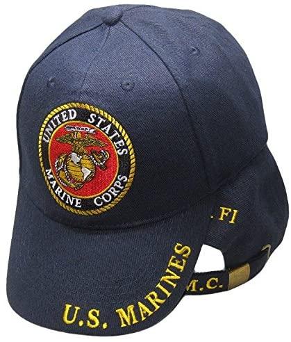 AES Marines Marine Corps EGA U.S.M.C. USMC Semper Fi Navy Blue Embroidered Cap Hat