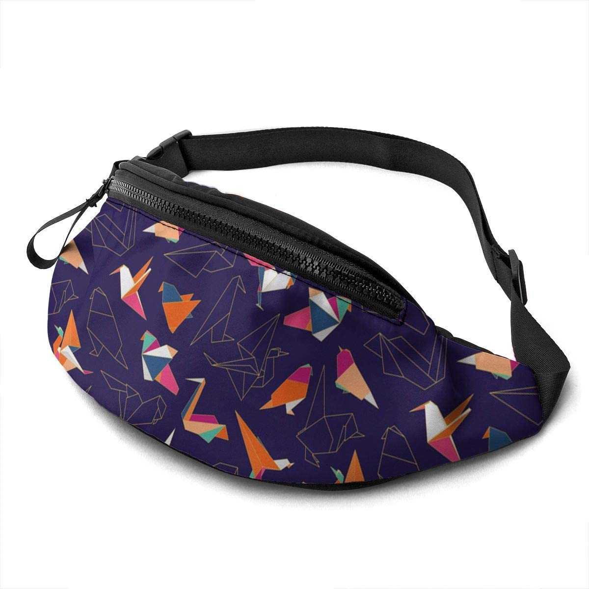 Colorful origami paper swallow birds Fanny Pack for Men Women Waist Pack Bag with Headphone Jack and Zipper Pockets Adjustable Straps