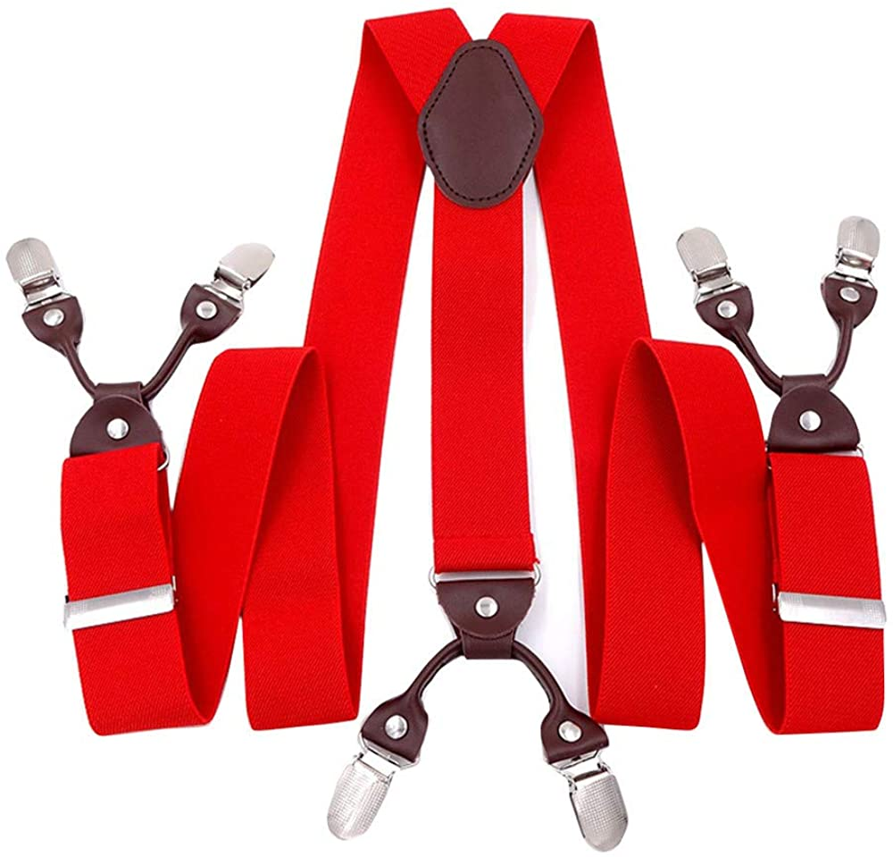 Panegy Mens Suspenders with 6 Strong Clips Clip On Y Shape Wide Leather Braces