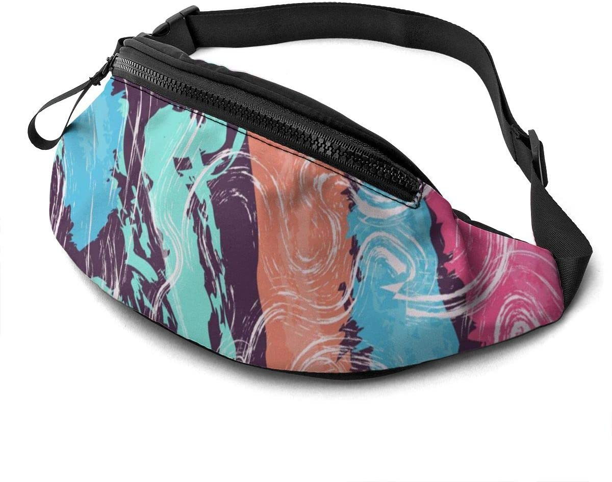 Colorful abstract artistic Fanny Pack for Men Women Waist Pack Bag with Headphone Jack and Zipper Pockets Adjustable Straps