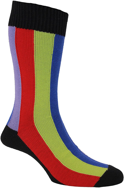 HJ Hall Men's 1 Pair Rainbow Vertical Striped Socks