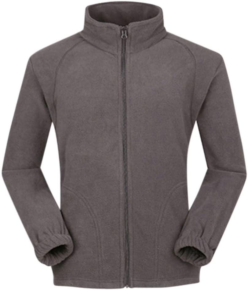 FidgetKute Men Warm Full Zip Casual Fleece Jacket Outdoor Climbing Hiking Coat Long Sleeve Sweatshirt Gray S