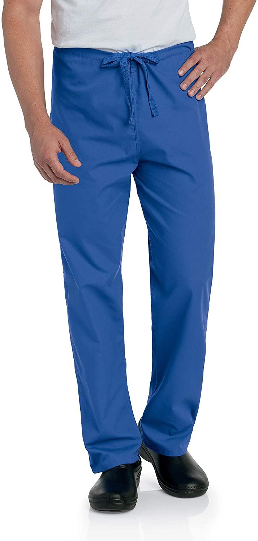 Landau Unisex Reversible Drawstring Scrub Pants, Royal Blue, 3X-Large Petite