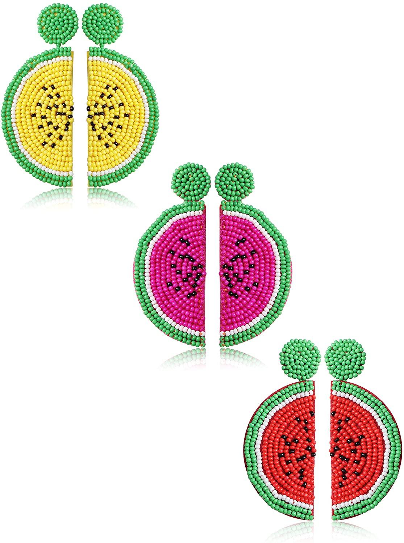 LOLIAS 3 Pairs Beaded Fruit Watermelon Drop Earrings for Women Girls Bohemian Statement Party Jewelry Gift