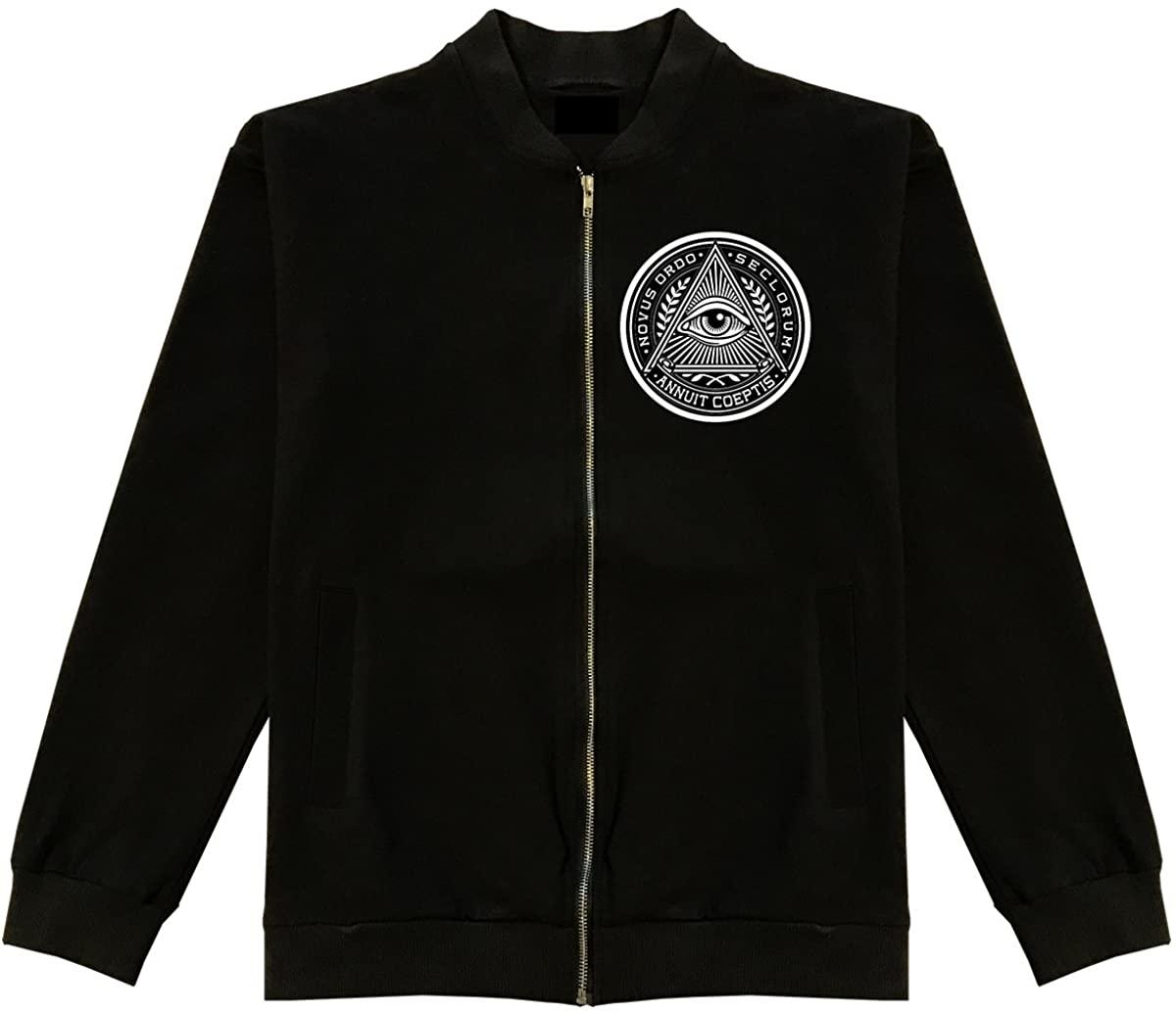 Kings Of NY Illuminati Eye Triangle Cotton Bomber Jacket