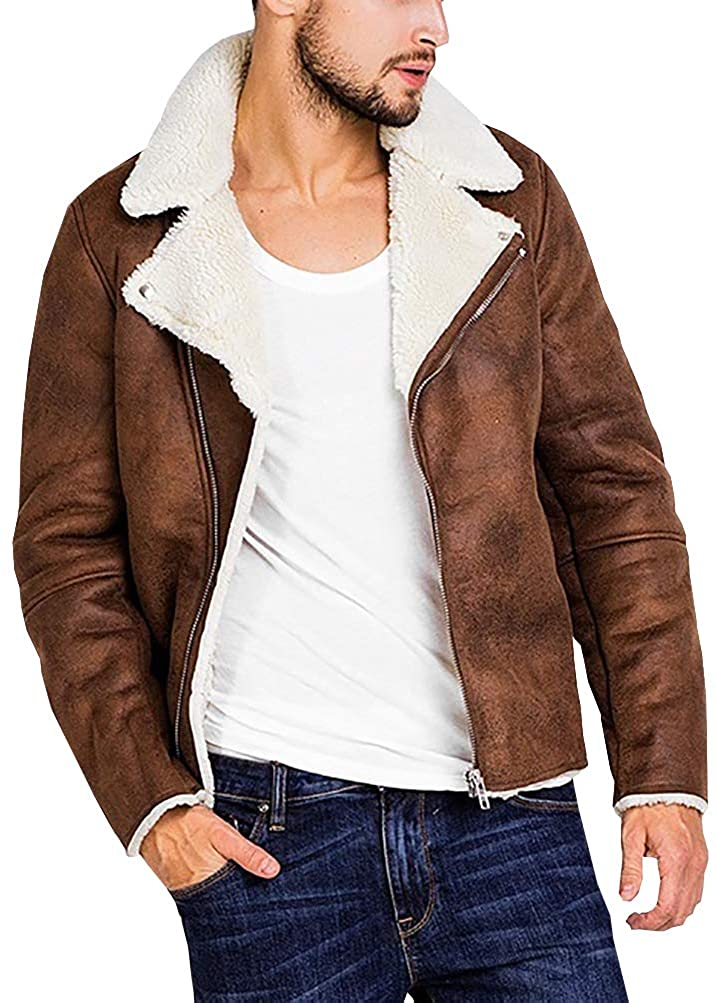 Beotyshow Mens Sherpa Suede Jacket Lined Shearling Corduroy Trucker Softshell Faux Suede Cotton Highneck Notched Collar Leather Coats Autumn Winter Warm Brown