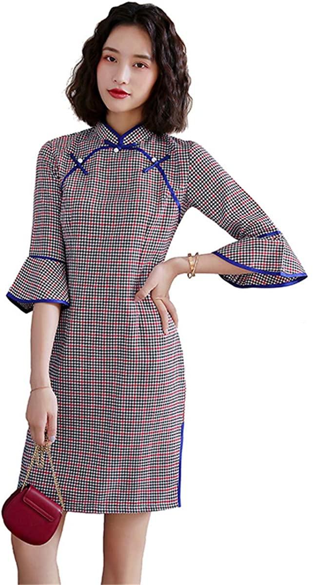 Shanghai Story flare Sleeve Chinese Traditional Dress Faux Silk Lattice Cheongsam Knee Length Plaid Qipao