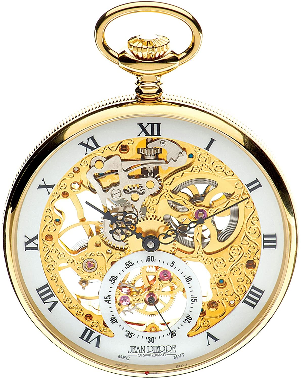 Open Face Skeleton Pocket Watch 17 Jewelled Mechanical Gold Plated Case - Luxury