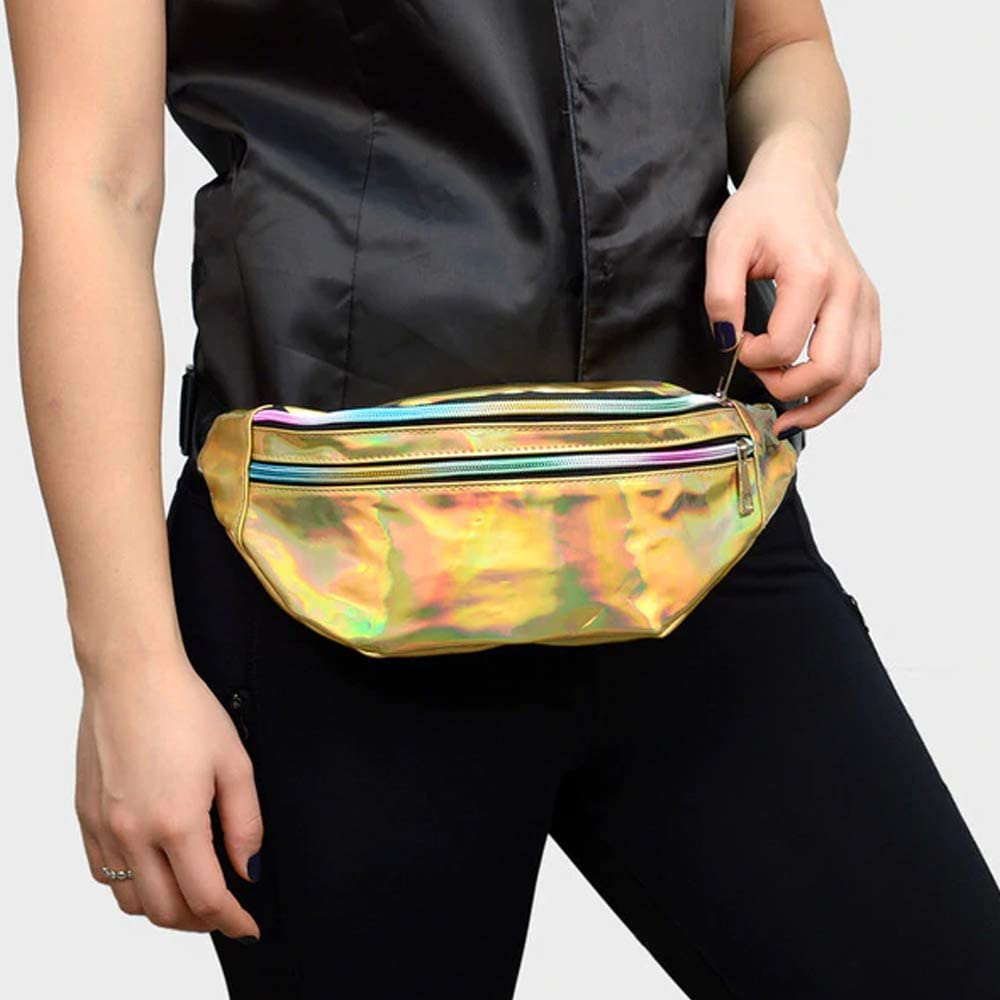 Iridescent Holographic Fanny Pack Shiny Waist Bag Gold Silver Pink Rainbow Black