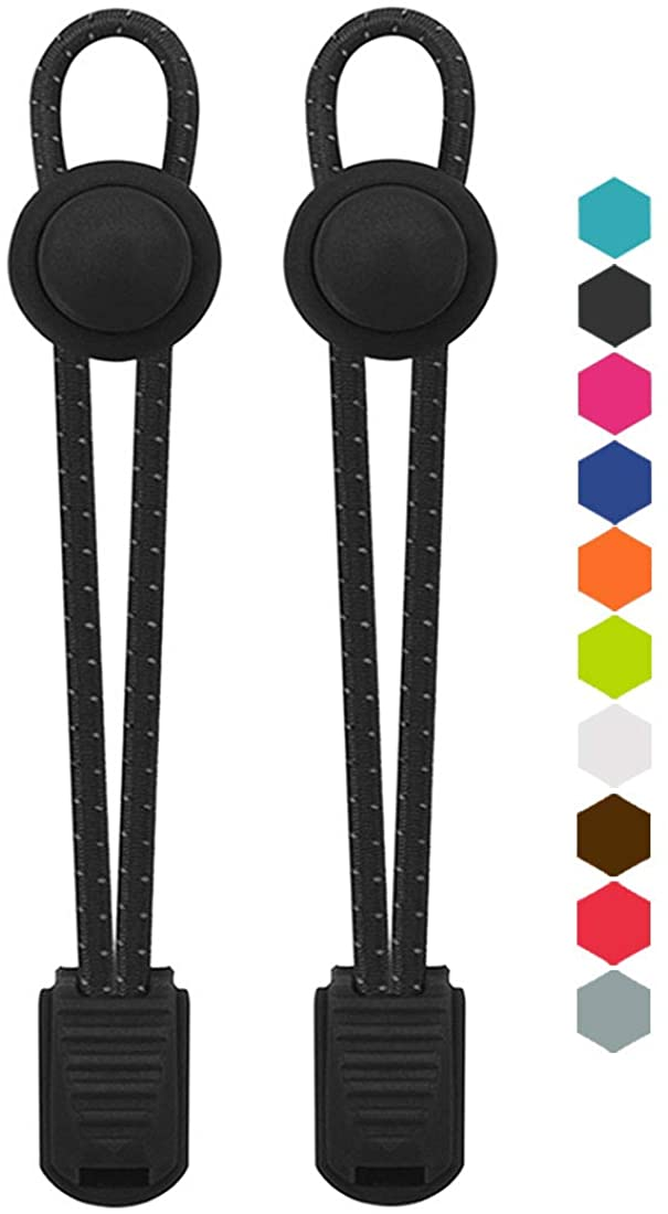 VESONNY Elastic No Tie Shoelaces - Reflective Shoe Laces with Lock for Kids and Adults, Stretch Sneaker Shoe Strings Quick Lacing System for Running, Hiking