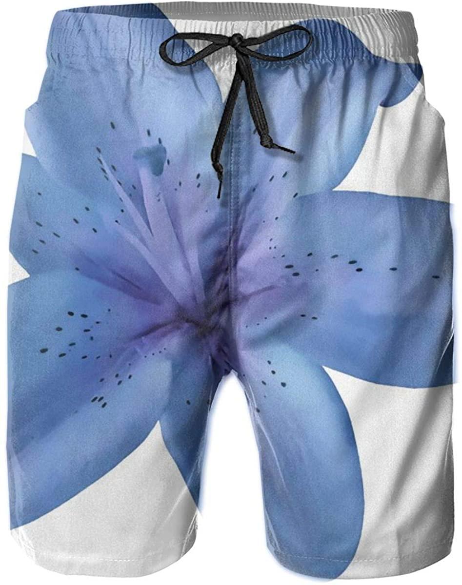 Mens Swim Trunks Male Swimtrunks Board Shorts Blue Lilies Flowers Drawstring Elastic Waist Athletic Beach Summer with Pockets