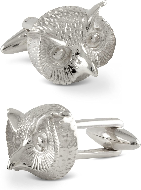 ZAUNICK Owl Cufflinks Sterling Silver Handcrafted