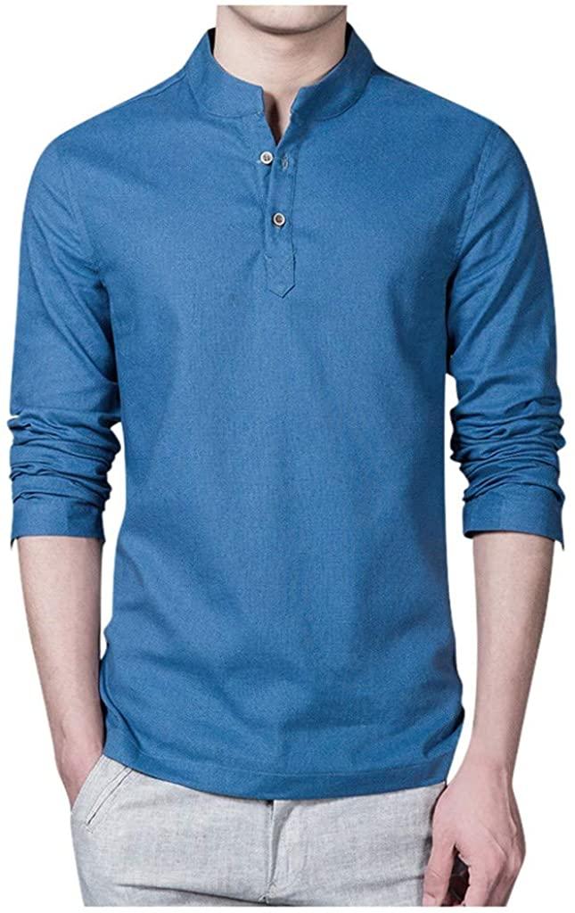 HDGTSA Men Ethnic Style Henley Shirt Solid Color Cotton Slim T-Shirt Long Sleeve Blouse Tops