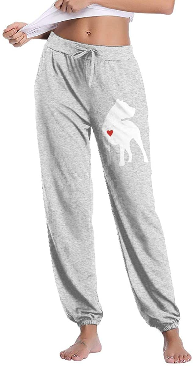 Not applicable Pitbull Heart1 Women's Drawstring Casual Yoga Workout Sweatpants Pants