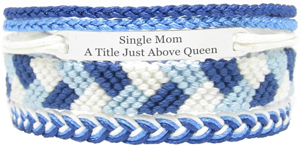 Miiras Family Engraved Handmade Bracelet - Single Mom A Title Just Above Queen - Blue - Made of Embroidery Thread and Stainless Steel - Gift for Single Mom