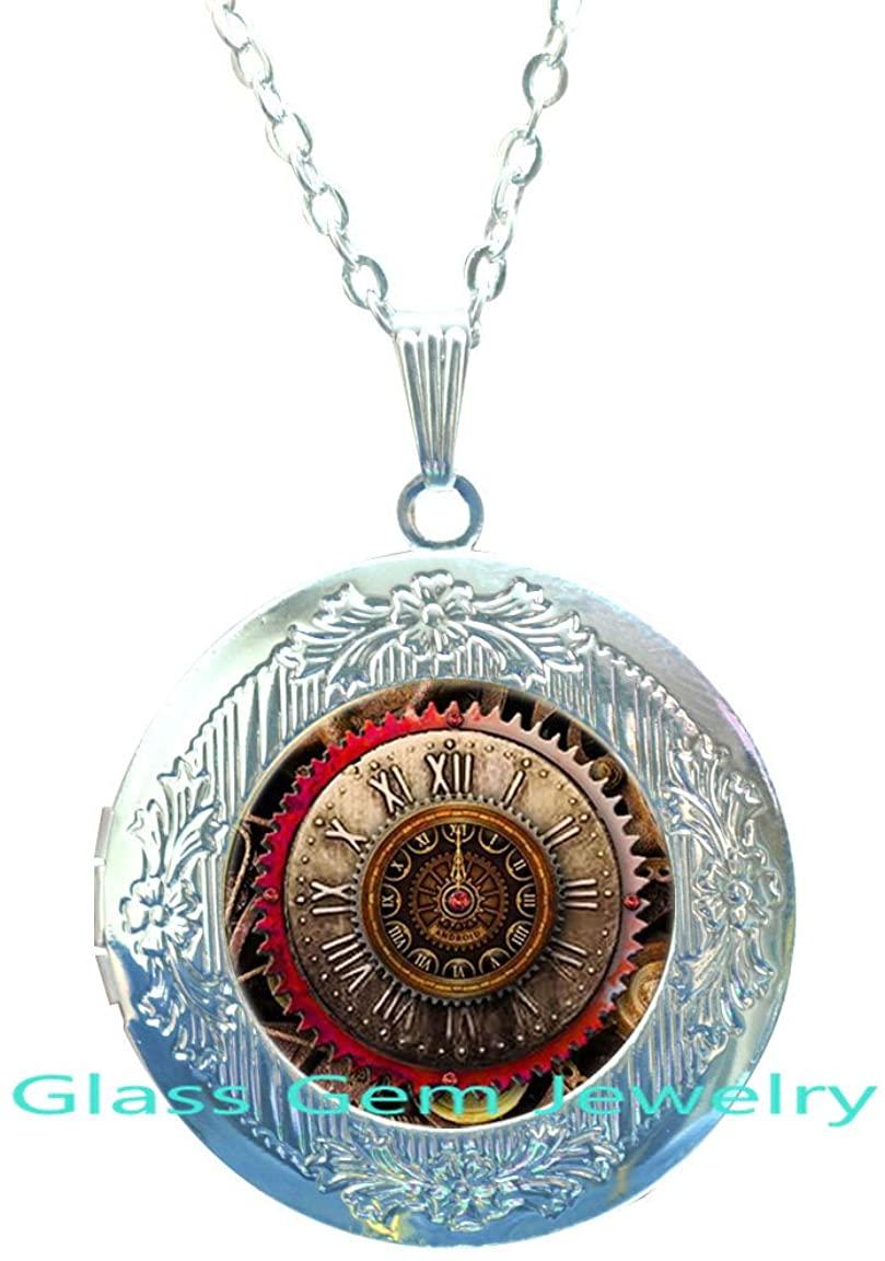 SteampunkLocket Necklace.Agiftforher.Mechanism.Locket Pendantwithaclockworkmechanism.Silver.Locket Necklacewatch.Charming.Cosplay.XY79