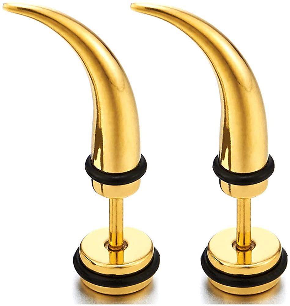 Mens Women Steel Horn Claw Stud Earrings Cheater Fake Ear Plugs Gauges, 2pcs