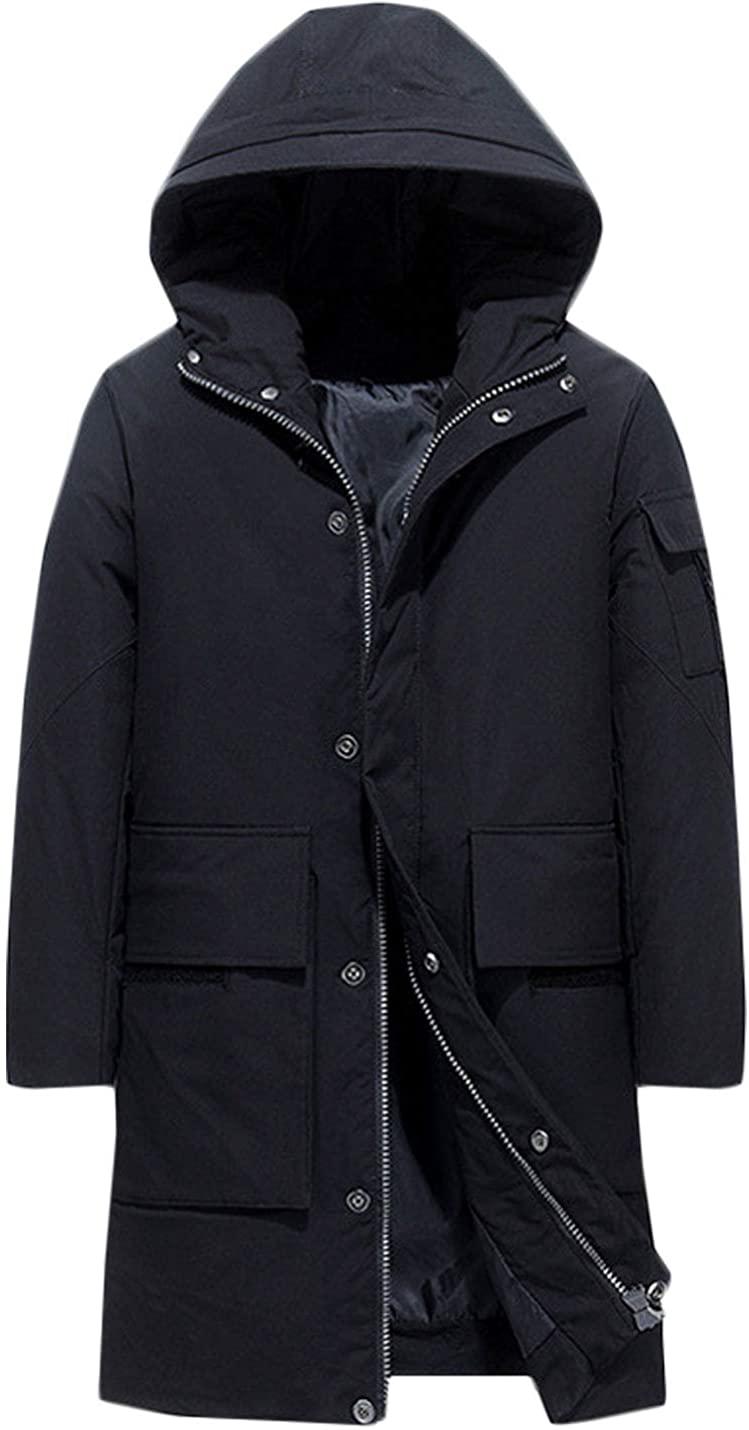 Hongsui Men's Winter Hooded Long Coat Thick Cotton Jacket Warm Zipper Jacket