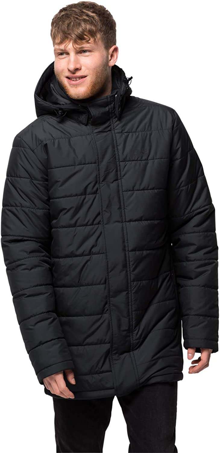 Jack Wolfskin Mens Svalbard Quilted Insulated Windproof Coat, Black, Small