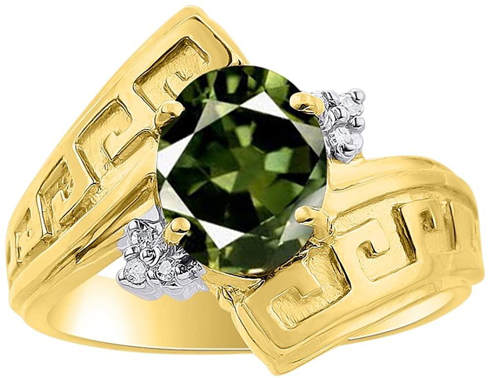 Diamond & Green Sapphire Ring Set In 14K Yellow Gold - Greek Key Design - Color Stone Birthstone Ring