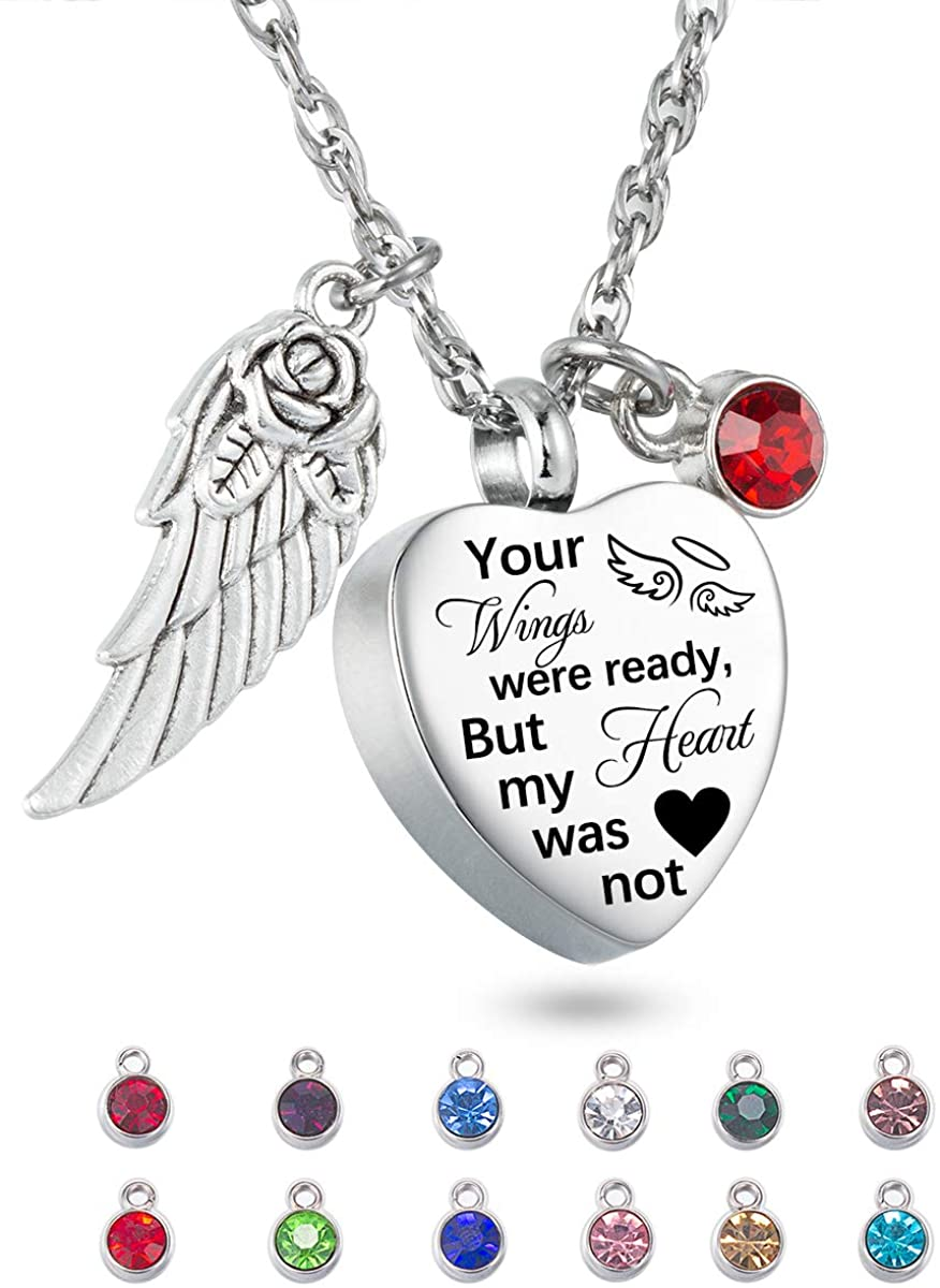 Cremation Jewelry for Ashes Heart Urn Necklace & 12 Birthstones Your Wings were ready my heart was not Crystal Keepsake Jewelry