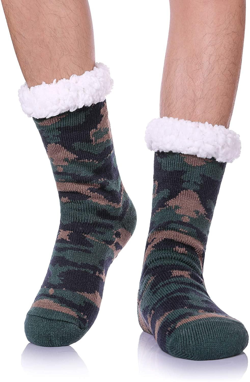FANZERO Mens Fuzzy Slipper Socks Soft Warm Fleece Lined Winter Socks Christmas Gift