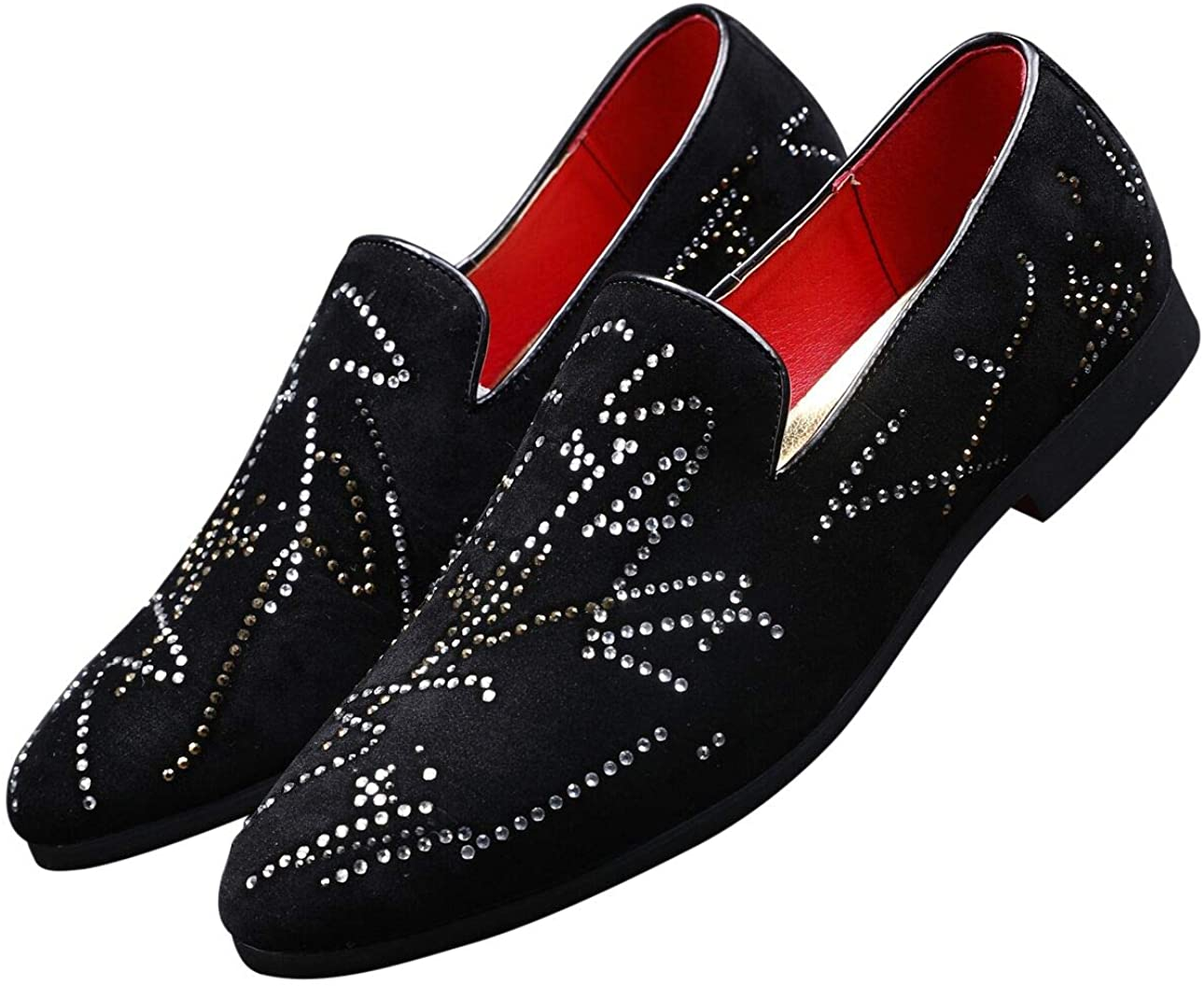 Santimon Mens Slip On Dress Shoes Smoking Slipper Handmade Rhinestones Crystal Suede Moccasins Casual Loafers