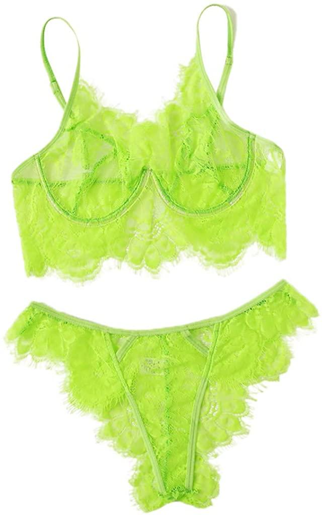 Golike Women Lingerie Corset Solid Applique Underwire Sleepwear Underwear Sling Applique Pajamas Set
