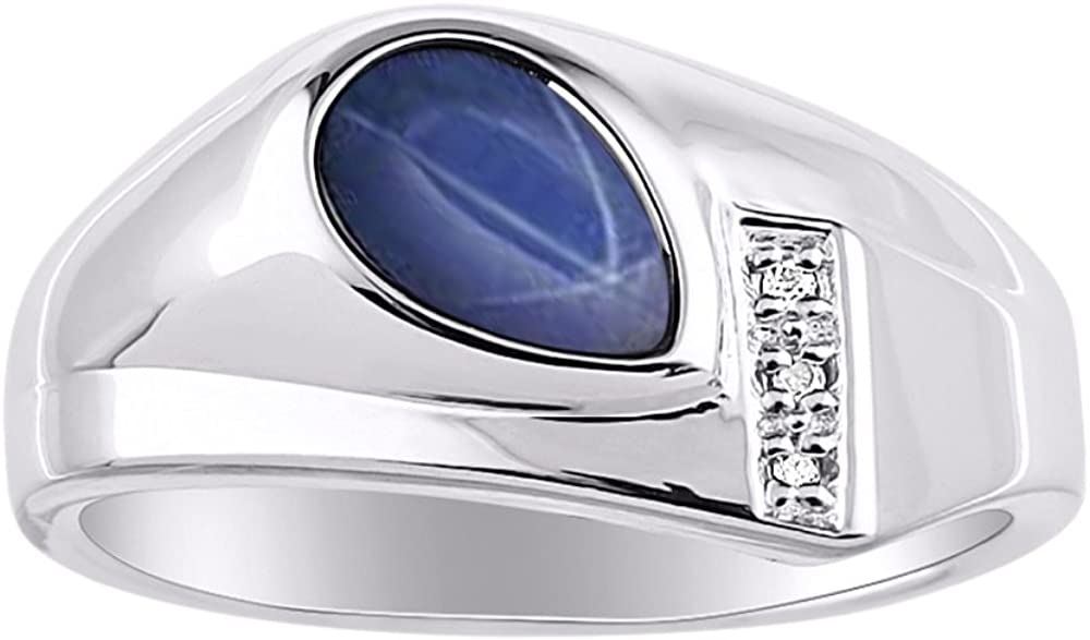 Diamond & Simulated Blue Star Sapphire Ring 14K Yellow Gold or 14K White Gold