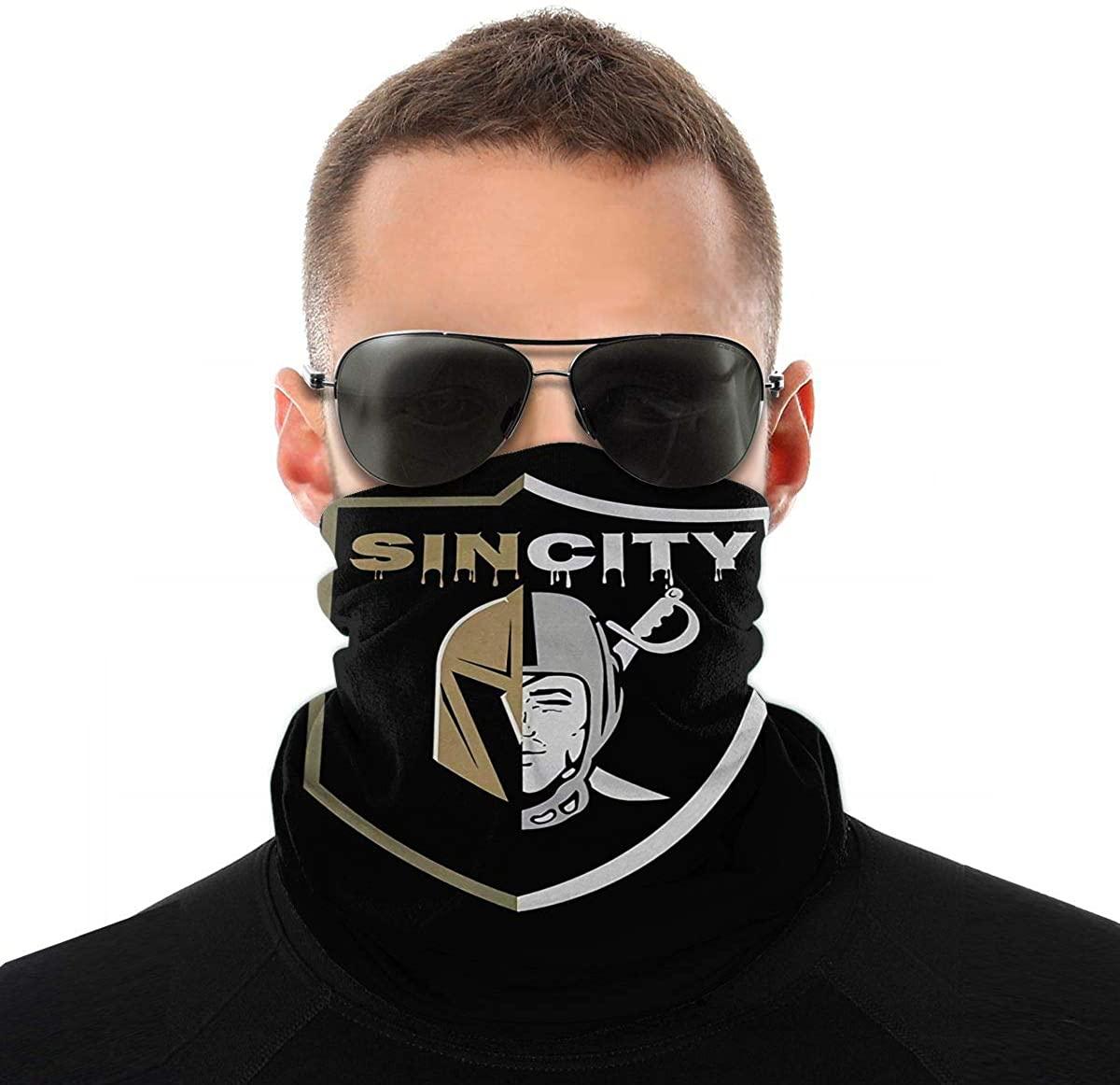 Sin City Las Vegas Raiders Golden Knights Fashionable Face Bandanas Sports & Casual Headwear Seamless Neck Gaiter, Headwrap