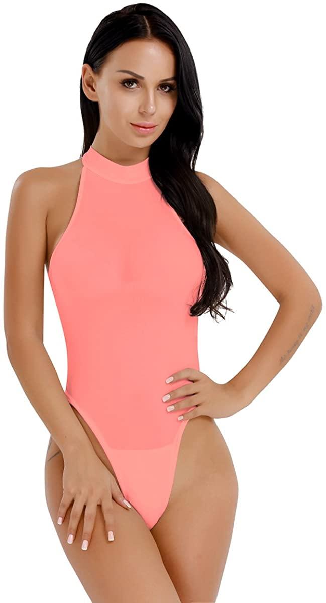 iEFiEL Womens Sleeveless Mock Neck High Cut Leotard Thong Bodysuit Nightwear Jumpsuit