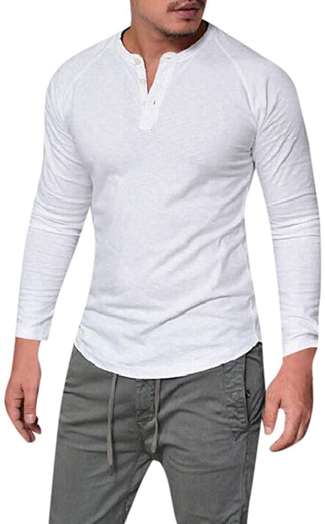 R-GABI Fashion Men Slim Casual Muscle Solid Henley Shirt Long Sleeve V Neck Tops Blouse White Chic T-Shirts