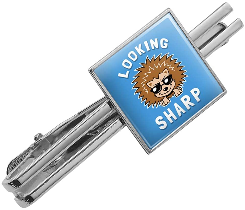 GRAPHICS & MORE Looking Sharp Porcupine Funny Humor Square Tie Bar Clip Clasp Tack- Silver or Gold
